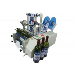 Semi-automatic labeling machine for round bottles model SL-RB - In operation